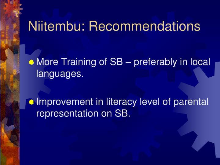 Niitembu: Recommendations