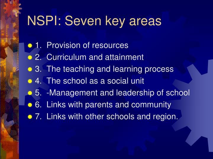 NSPI: Seven key areas