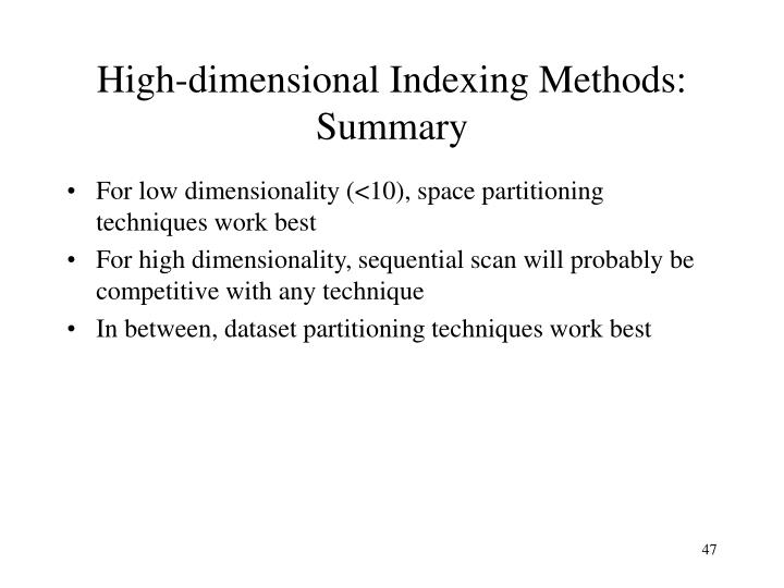 High-dimensional Indexing Methods: Summary