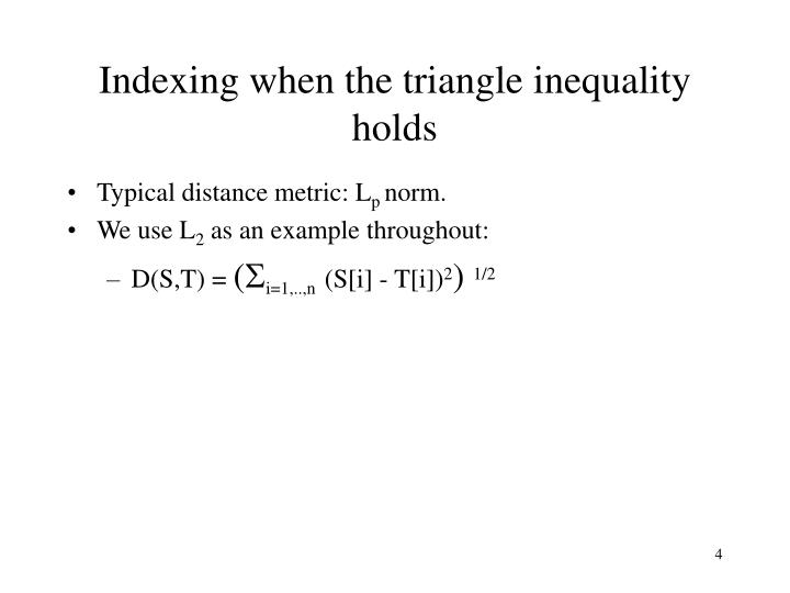 Indexing when the triangle inequality holds