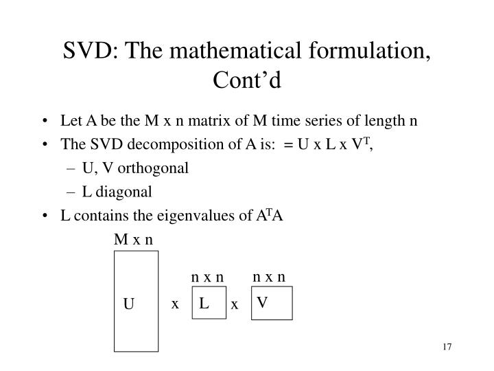 SVD: The mathematical formulation, Cont'd
