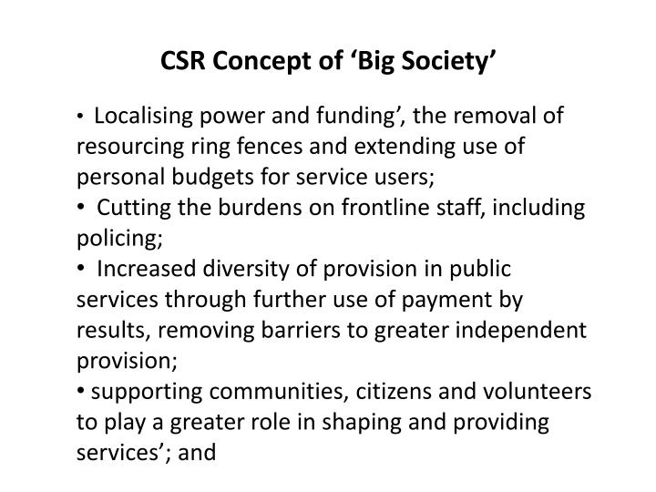 Csr concept of big society