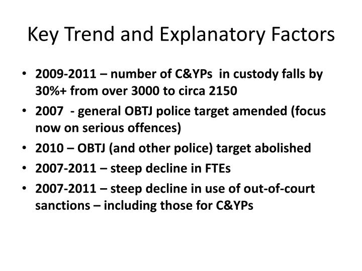 Key Trend and Explanatory Factors