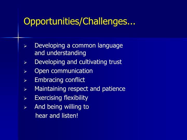 Opportunities/Challenges...