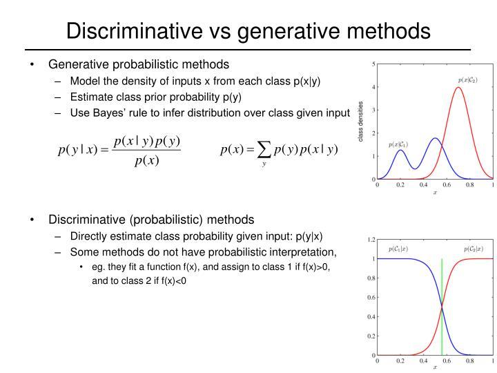 Discriminative vs generative methods