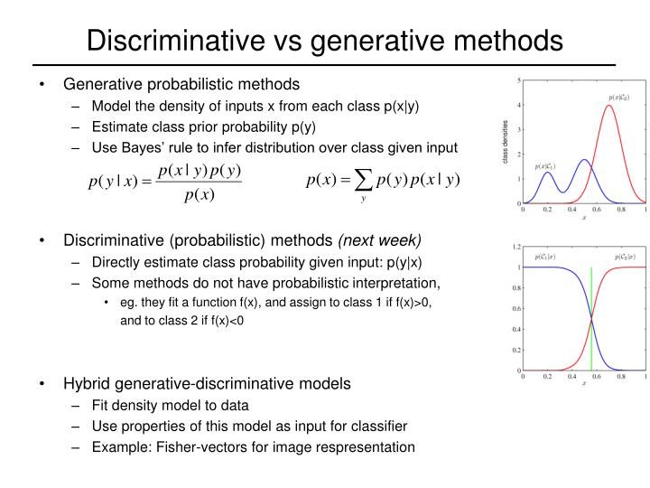 Discriminative vs generative methods