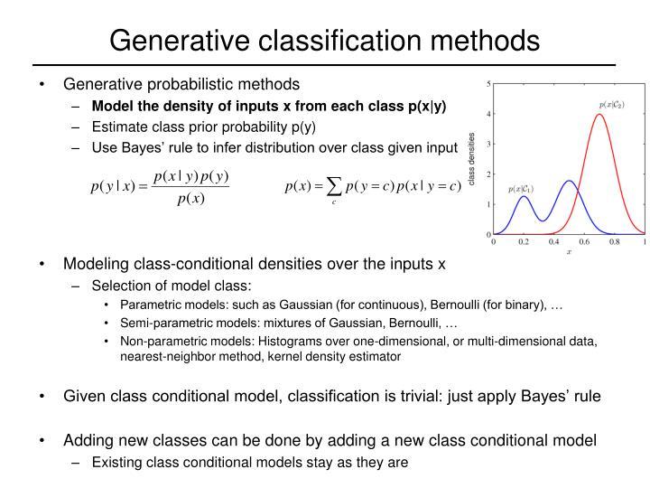 Generative classification methods