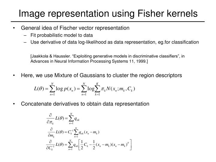 Image representation using Fisher kernels