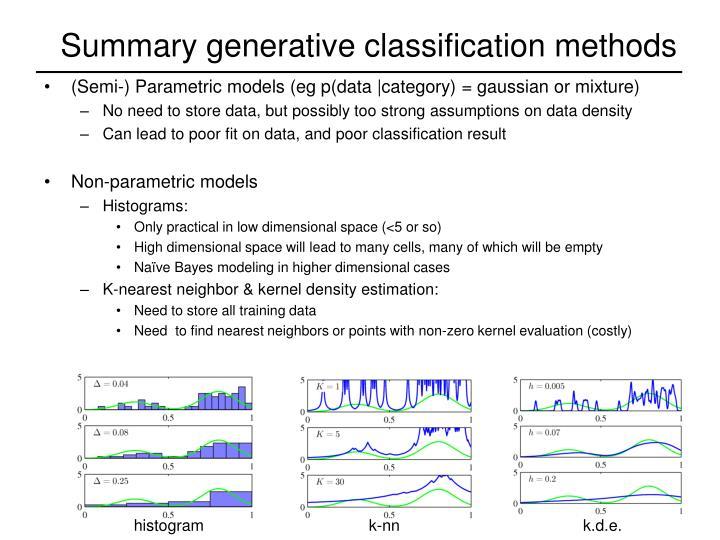 Summary generative classification methods