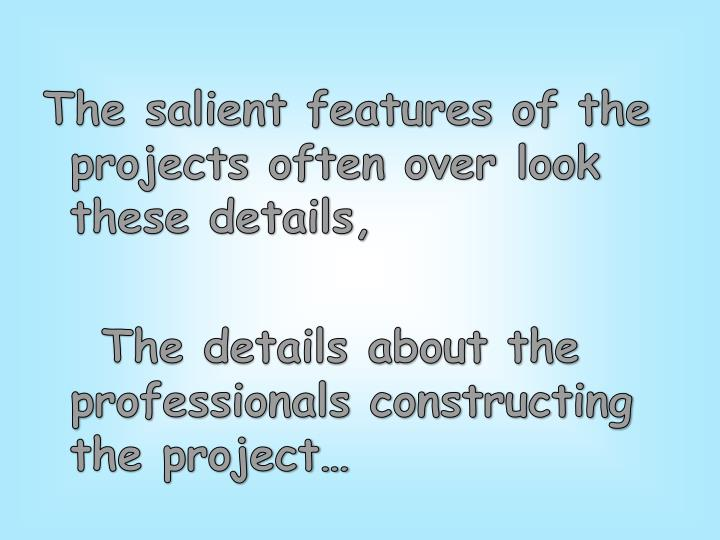 The salient features of the projects often over look these details,