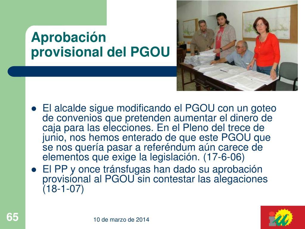 Aprobación provisional del PGOU