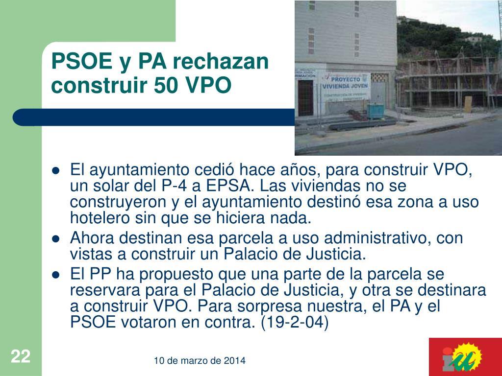 PSOE y PA rechazan construir 50 VPO