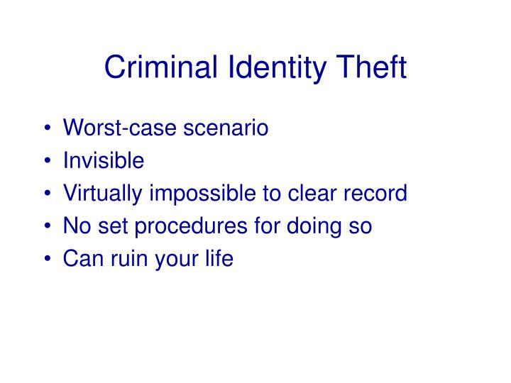 Criminal Identity Theft