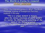 the world is trying to respond other churches