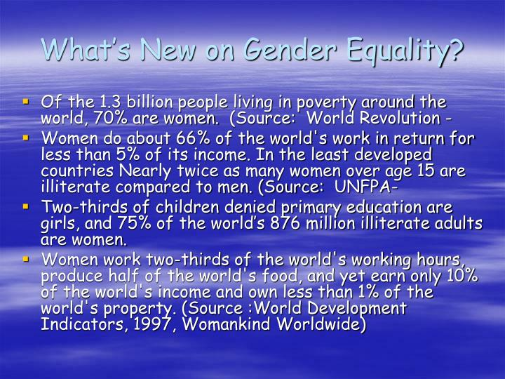 What's New on Gender Equality?