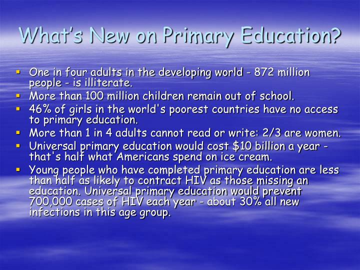 What's New on Primary Education?