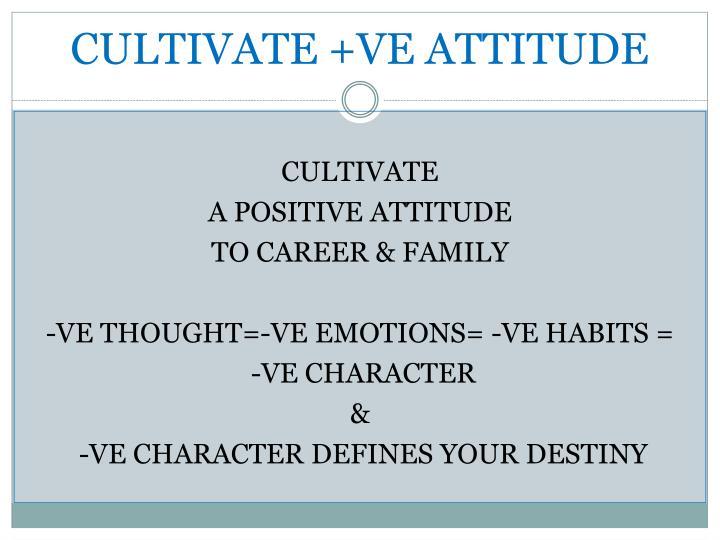 CULTIVATE +VE ATTITUDE