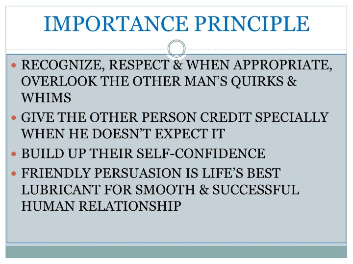 IMPORTANCE PRINCIPLE