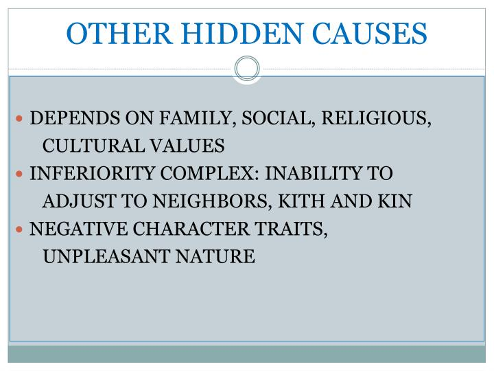 OTHER HIDDEN CAUSES