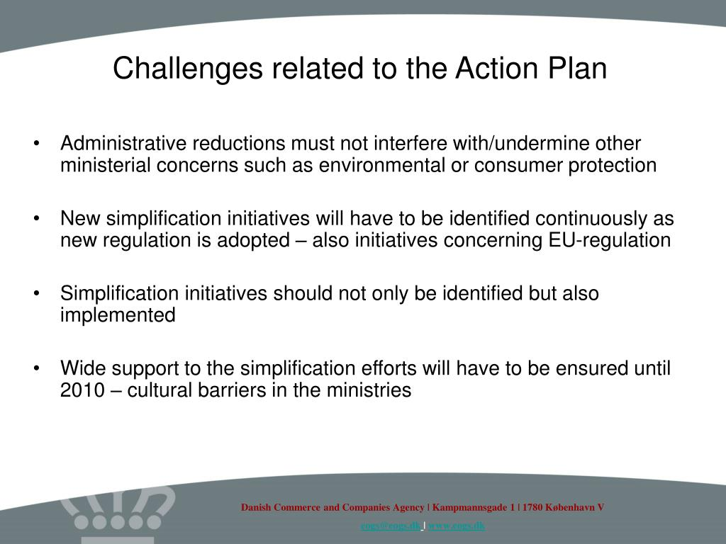 Challenges related to the Action Plan