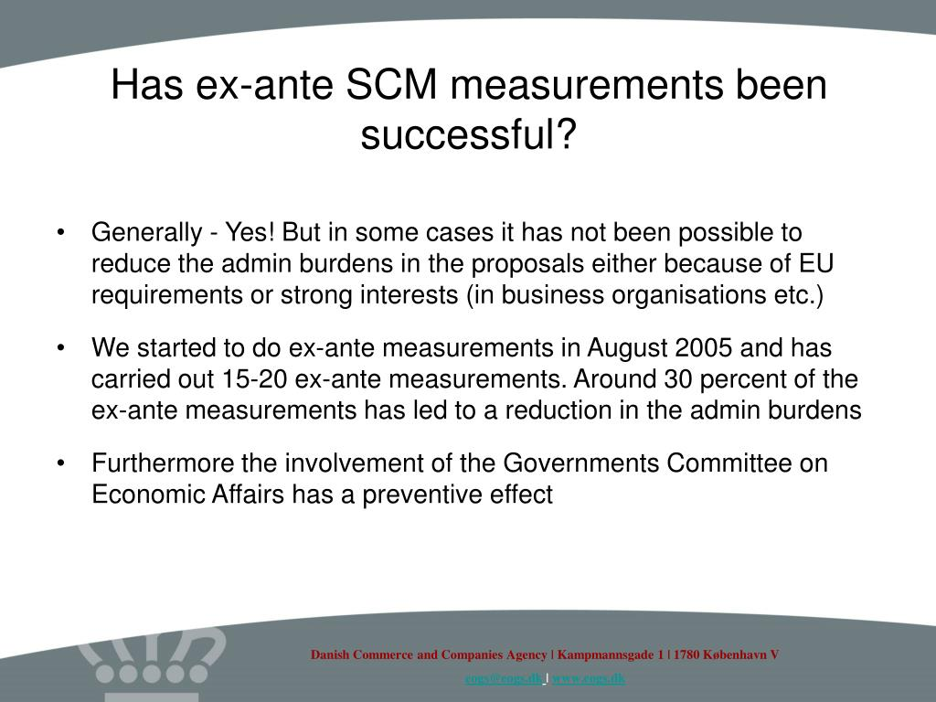 Has ex-ante SCM measurements been successful?