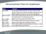 monitoring action plans for simplification