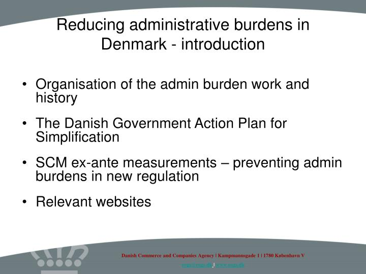 Reducing administrative burdens in denmark introduction