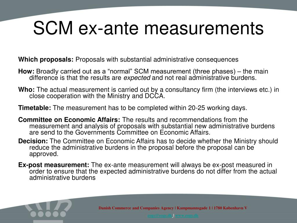 SCM ex-ante measurements