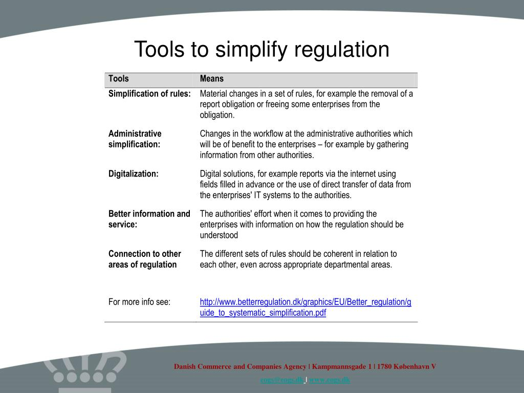 Tools to simplify regulation