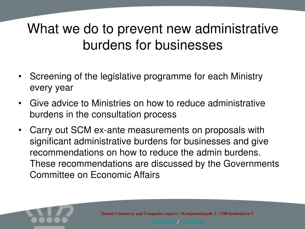 What we do to prevent new administrative burdens for businesses