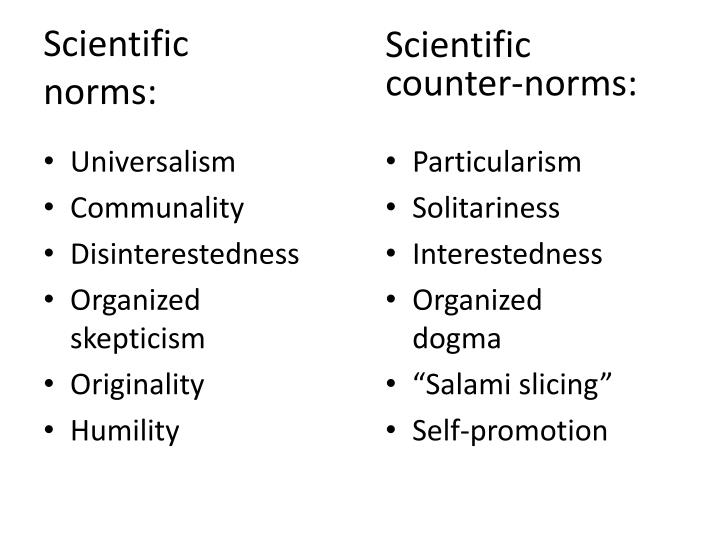 Scientific norms: