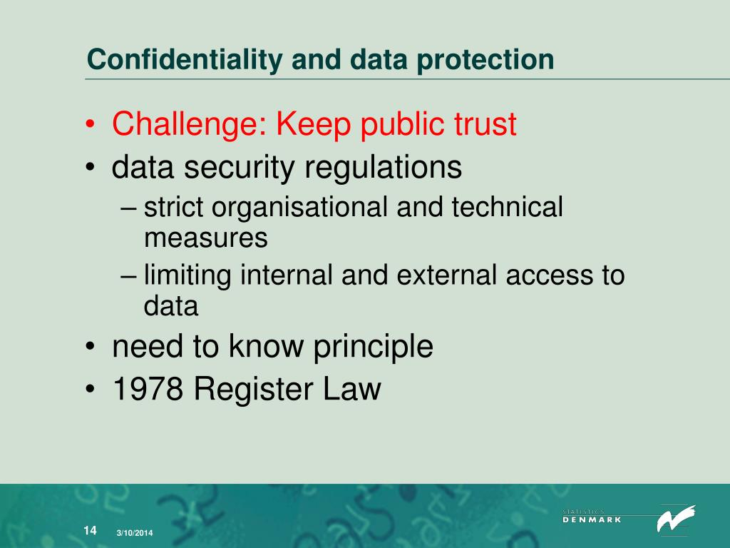 Confidentiality and data protection