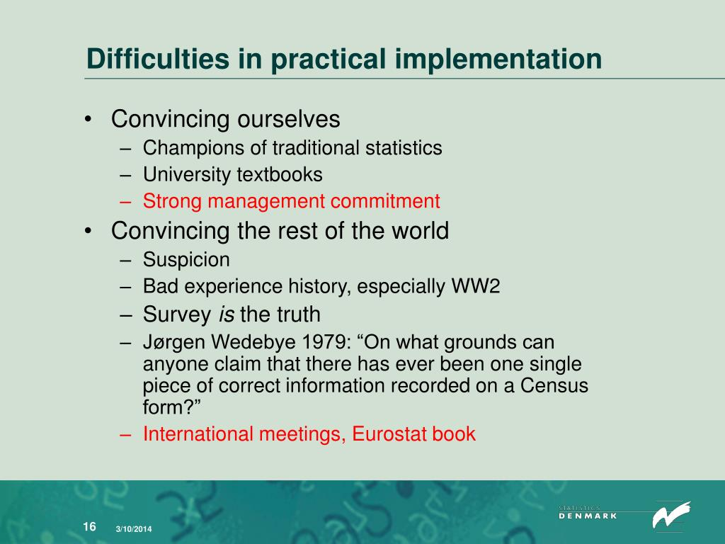 Difficulties in practical implementation