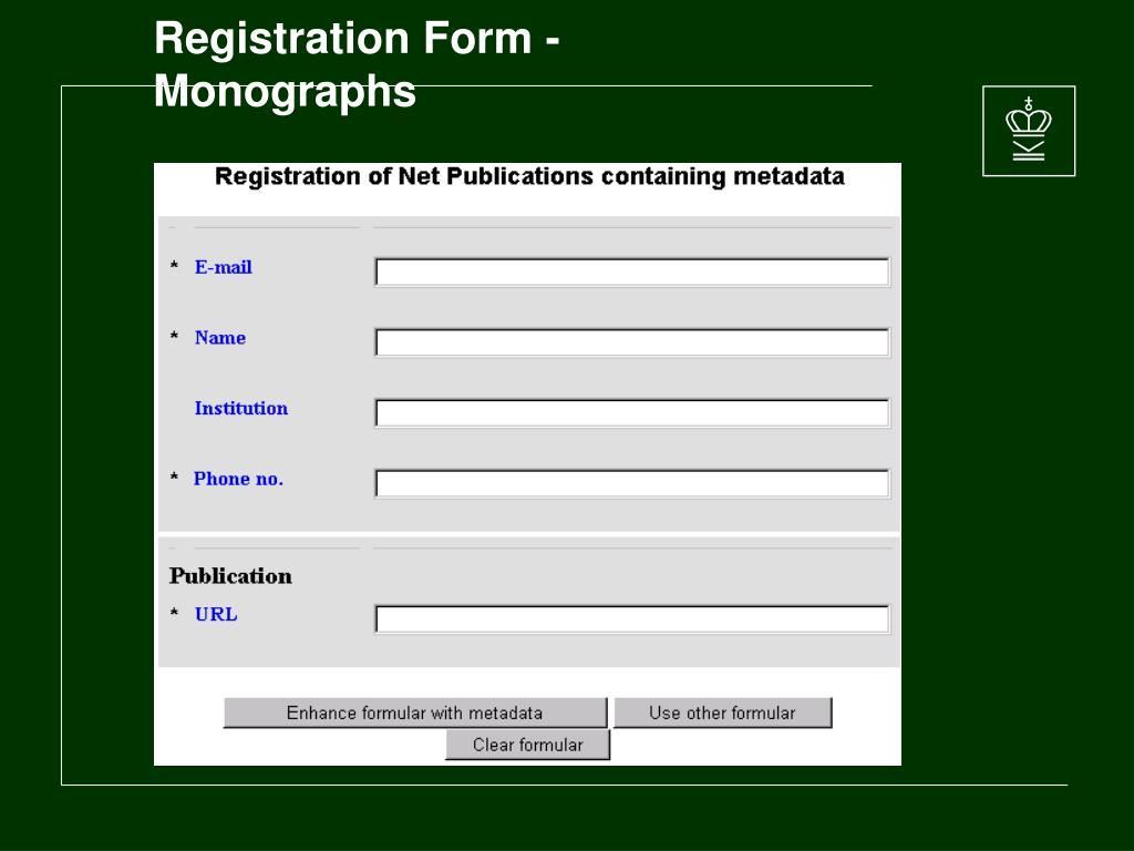 Registration Form - Monographs