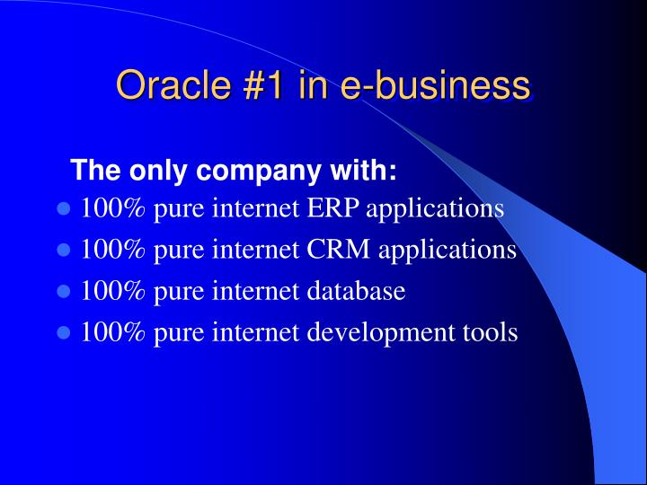Oracle #1 in e-business