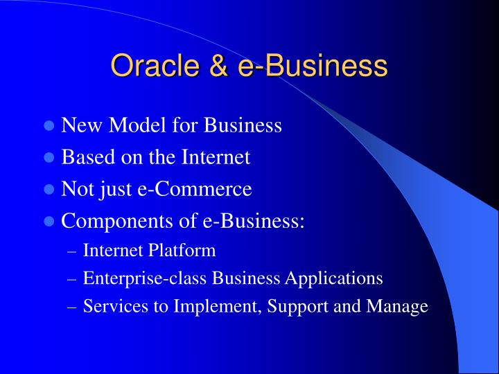 Oracle & e-Business