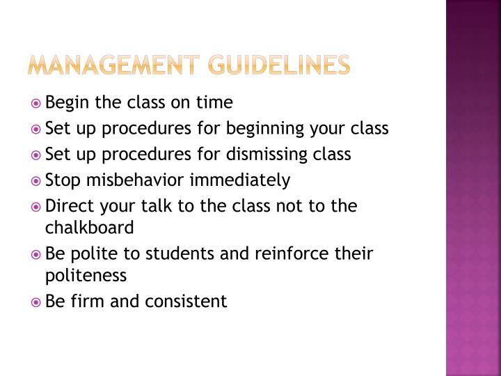 Management guidelines