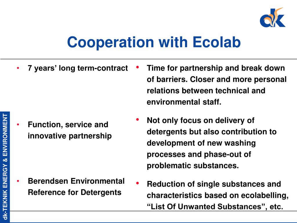 Cooperation with Ecolab