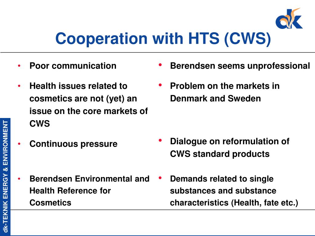 Cooperation with HTS (CWS)