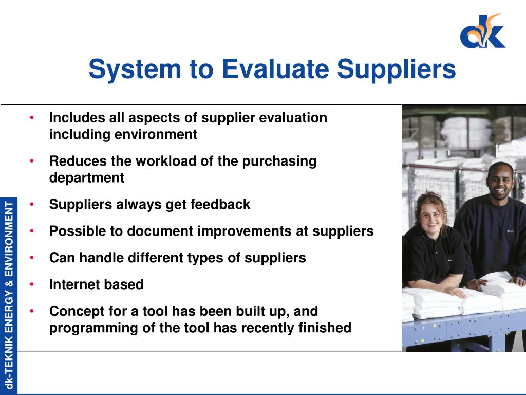 System to Evaluate Suppliers