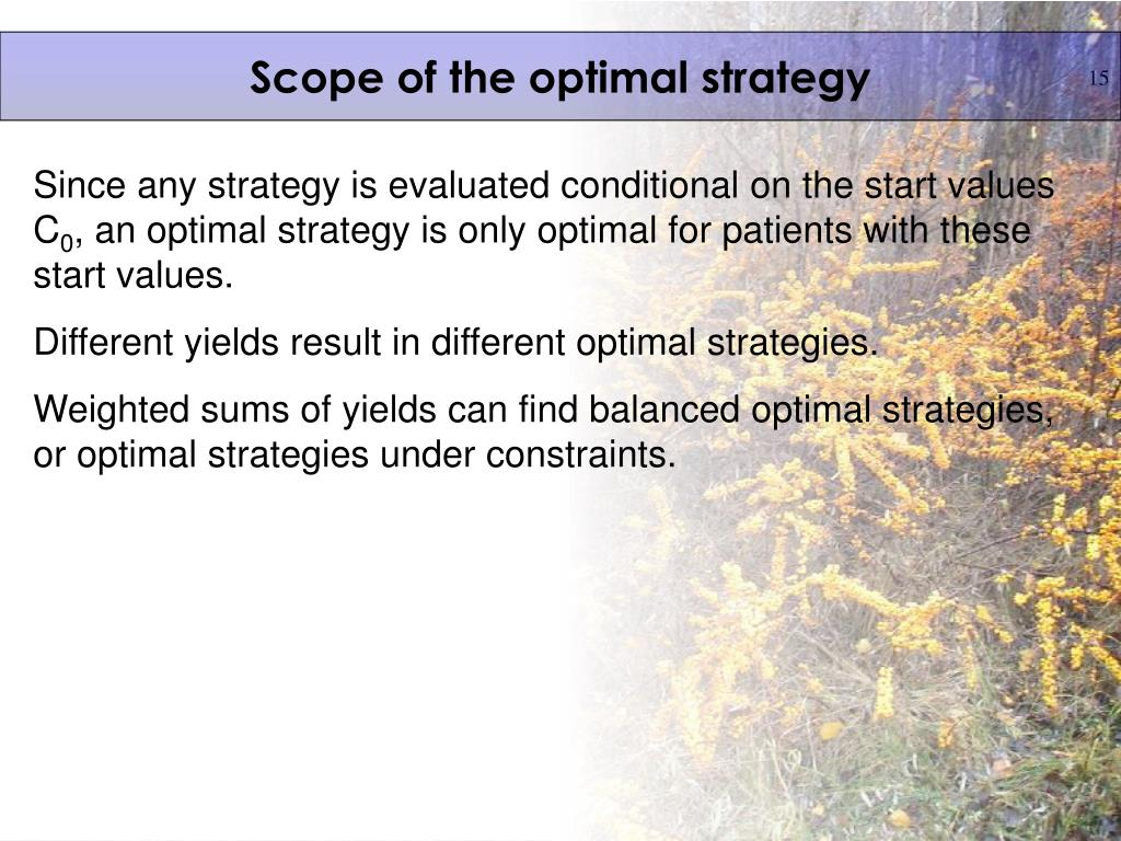 Scope of the optimal strategy