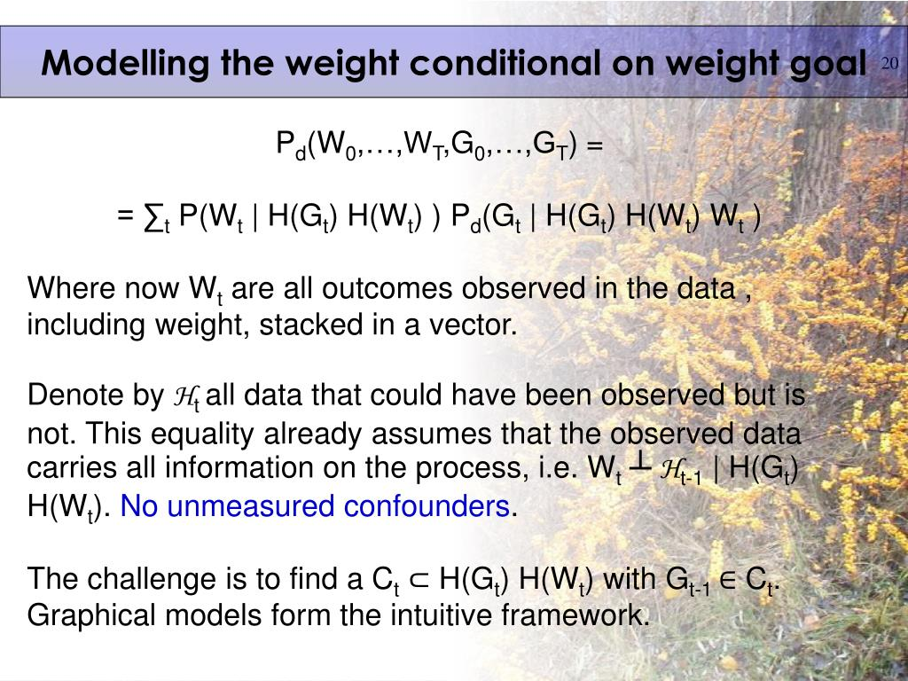 Modelling the weight conditional on weight goal