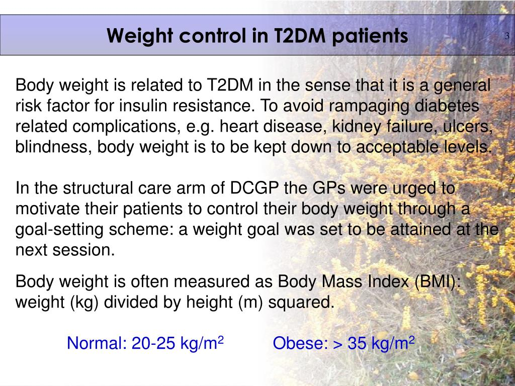 Weight control in T2DM patients