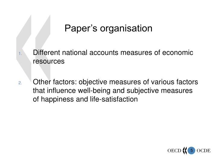 Paper's organisation