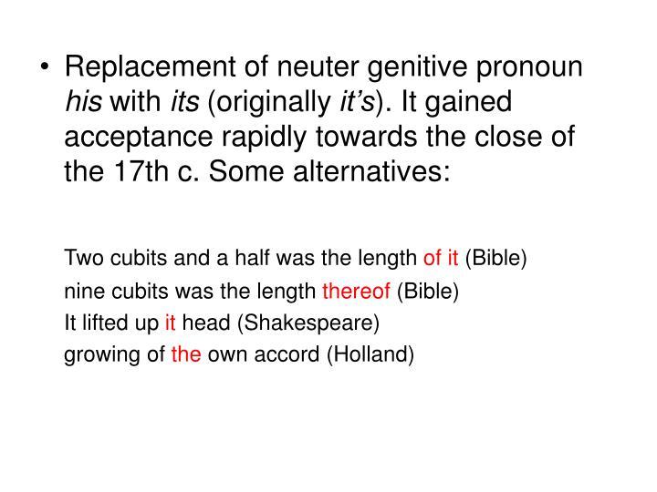 Replacement of neuter genitive pronoun