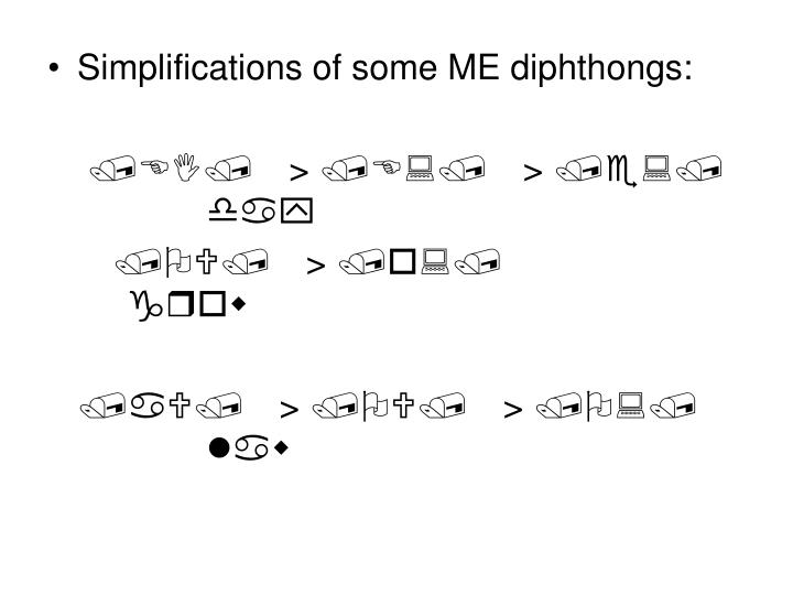Simplifications of some ME diphthongs: