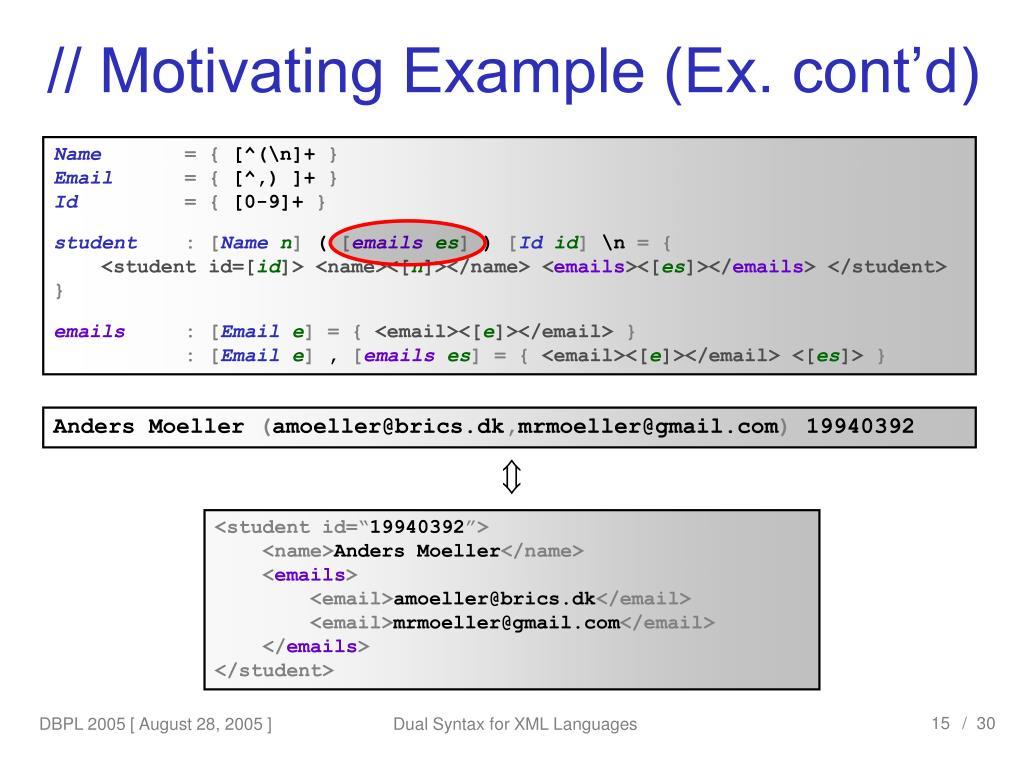 // Motivating Example (Ex. cont'd)