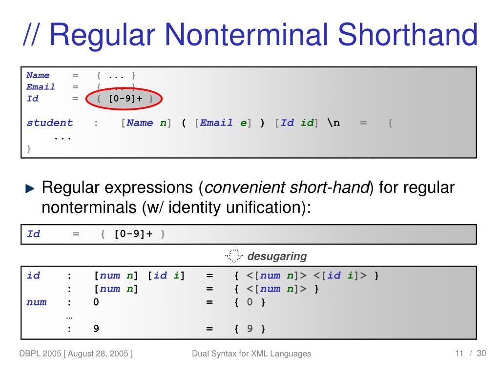 // Regular Nonterminal Shorthand