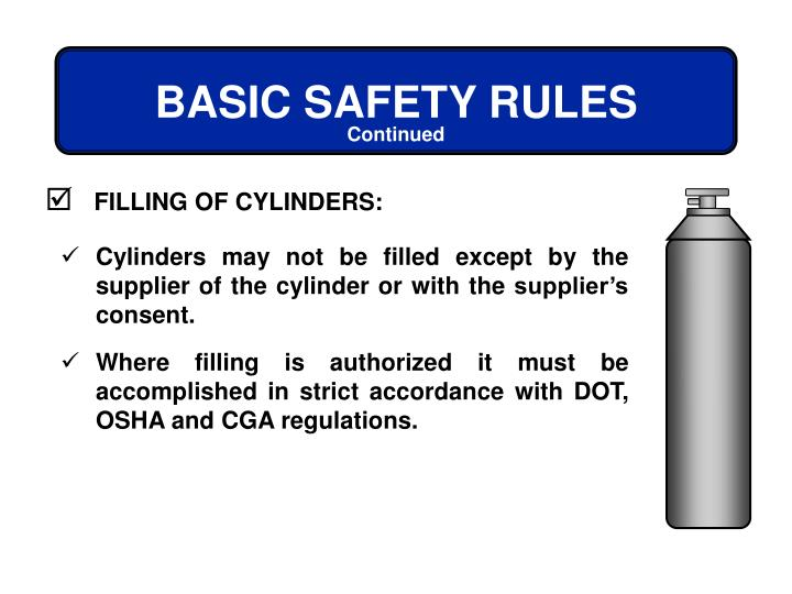 FILLING OF CYLINDERS: