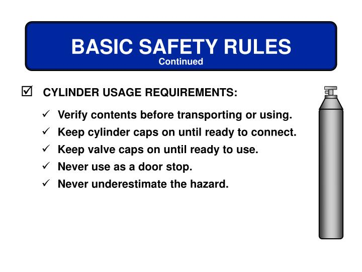 CYLINDER USAGE REQUIREMENTS: